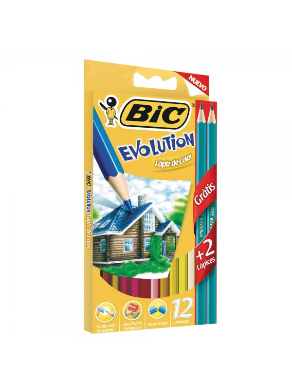 LAPIZ BIC EVOLUTION COLORIN x12 LARGOS