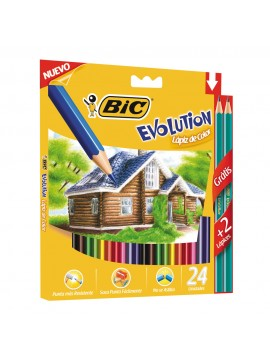 LAPIZ BIC EVOLUTION COLORIN x 24 LARGOS