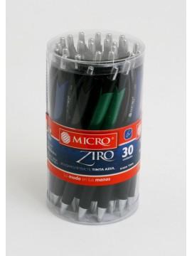 x30 BOLIGRAFO ZIRO METALICO CON GRIP AZUL