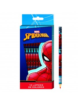 LAPIZ COLOR SPIDERMAN x12 LARGOS